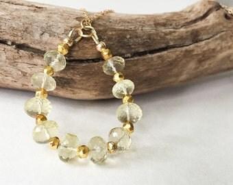 Lemon Quartz Necklace- Gemstone Necklace- Teardrop Necklace- Yellow Stone Necklace- Pendants- Jewelry