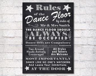 wedding sign - dance floor rules - wedding chalkboard sign - wedding decor - custom wedding sign - personalised wedding sign