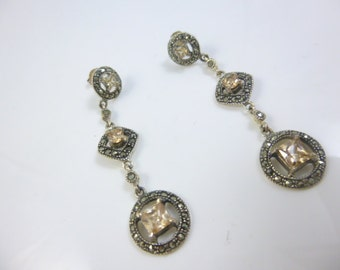 Silver and Marcasite Earrings, Citrine Earrings, Sterling Silver Earrings, Dangle Earrings