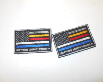 First Responders flag patches, police patches, fire patches, ems patches, 911 dispatcher patches, american flag patches, embroidery patches