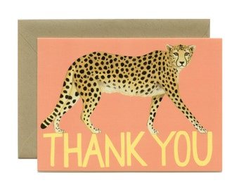 "Cheetah Thank You Card - ""Thank You"" - ID: TY099"
