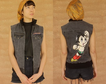 1980's vintage charcoal denim Astro boy punk grunge vest jacket
