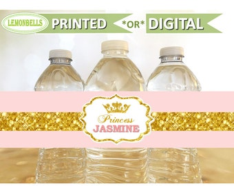 Princess Water Bottle Labels, Princess Baby Shower Water, Princess Party Water Bottle, Pink and Gold Water Bottle, Princess Birthday  WP06