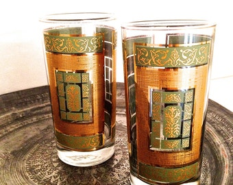Hollywood Regency cocktail glasses Old Hollywood glamour 1950's drink glasses Retro glass tumblers Mid Century modern barware Morrocan decor