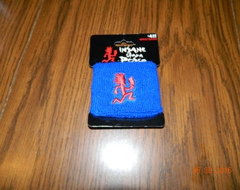 "New- Offically  Licensed ICP ""HATCHETMAN ""Blue with Red hatchetman "" terrycloth wristband."