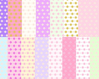 Flower background Digital Paper - Colorful Digital Paper Pack - 15 Papers - 12in x 12in - Commercial Use - INSTANT DOWNLOAD