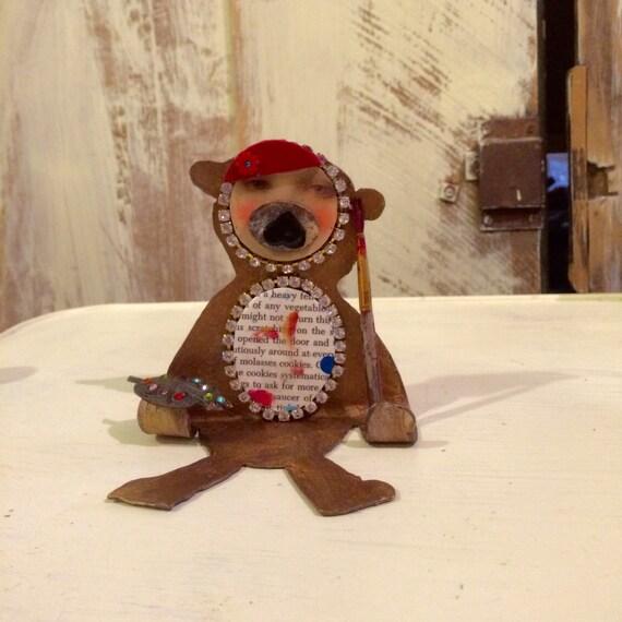 Folk art bear home decor artist bear nursery decor for Bear home decorations