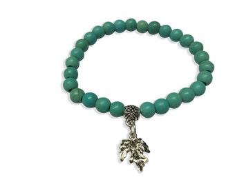 Turquoise Bracelet, Leaf Bracelet, Turquoise Cuff Bracelet with Leaf