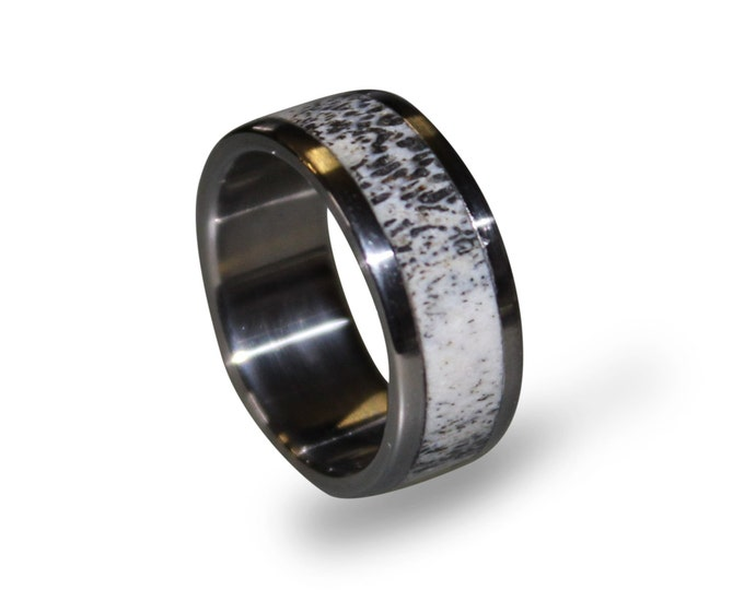 Titanium Wedding Band with Deer Antler Inay, Mens Antler Ring, Antler Wedding Band