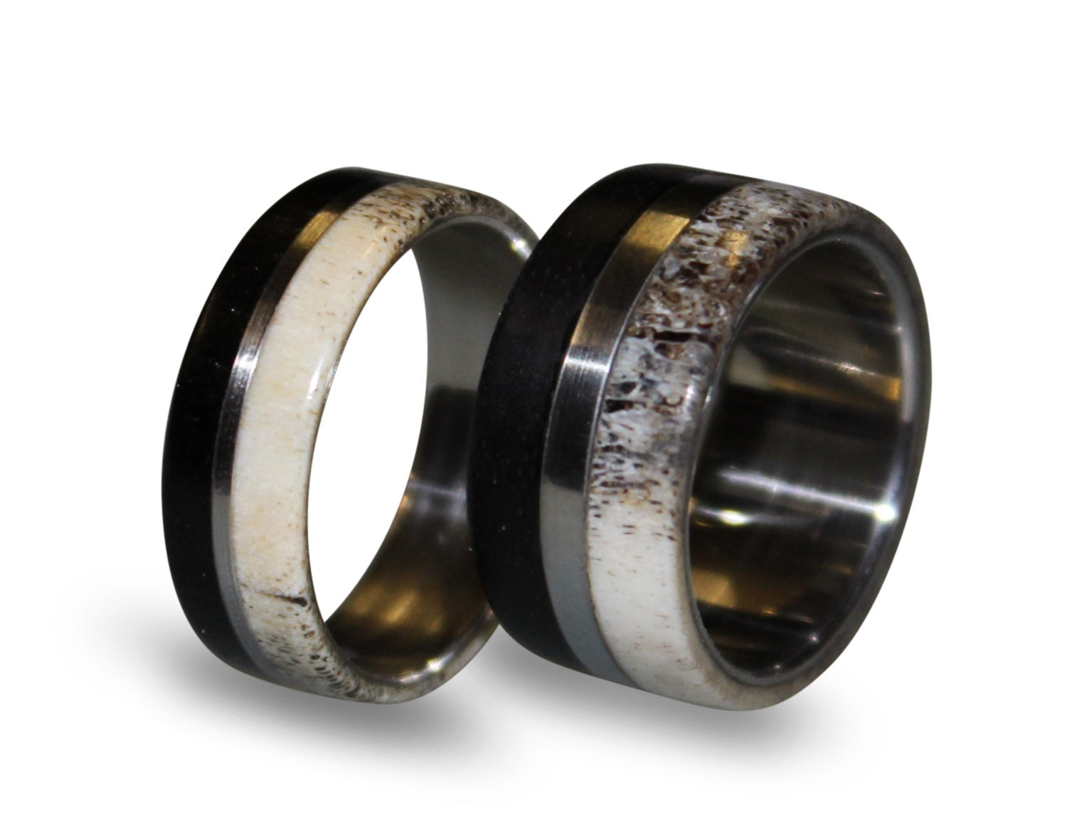 deer antler antler ring wooden zoom - Deer Antler Wedding Rings