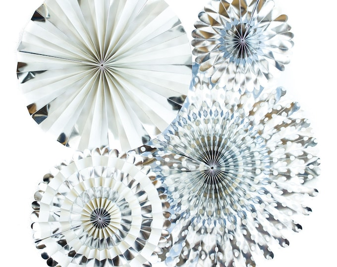 Silver Party Fans, Pom Wheel, Rosettes, Paper Medallions, Paper Pinwheel in Metallic Silver, PGB211