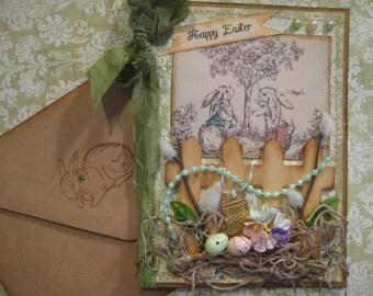 Garden Fence Easter Card, Bunnies in the Garden