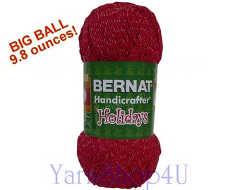 RED SPARKLE Bernat Handicrafter Holidays, Bernat Christmas Yarn, Red Silver Twist, Holiday crafting yarn, Red and silver Big Ball 9.8oz