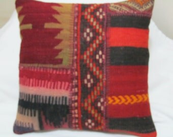 "Turkish hand stitced patchwork kilim Pillow cover 16""X16"""