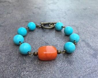 Turquoise Bead Bracelet / Boho Bracelet / Colorful Bracelet