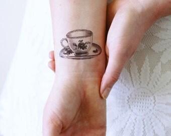 Small teacup temporary tattoo / tea temporary tattoo / tea gift / tea lover gift idea / tea accessoire / tea lover jewelry / tea cup gift