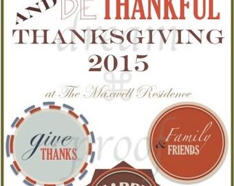 Customizable Thanksgiving Day Menu - DIY / Downloadable Thanksgiving 2015 Menu