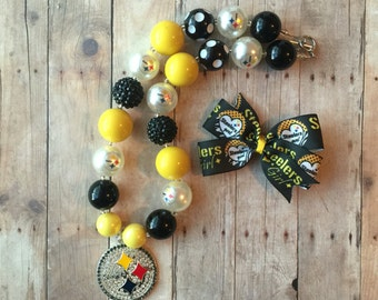 FREE SHIPPING Pittsburgh Steelers Necklace and Hair Bow Set
