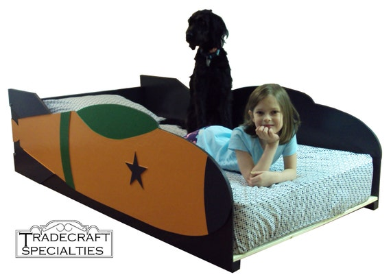 Rocket ship twin kids bed frame handcrafted by tradecraftspec for Childrens rocket bed