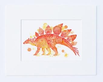 Orange Dinosaur Wall Art - Kids Dinosaur Art Baby Boy Nursery Art Mandala Prints Dinosaur Prints Wall Decor Boys Room Decor - Dinosaur Gifts