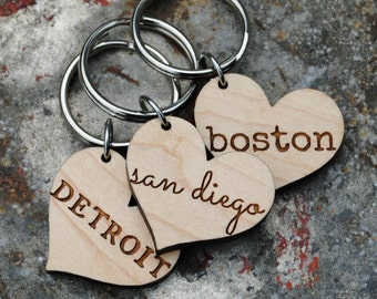 Your Favorite City Heart KEYCHAIN I Love My City