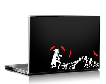 Dracula chasing stick family, stick figure car decal, stick family laptop decal, Dracula car decal, vampire car sticker, vampire bat decal