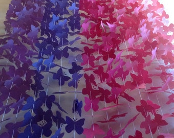 20 Strands- Pink Purple Paper Butterfly Garland ,Butterfly Backdrop ,Party Decor