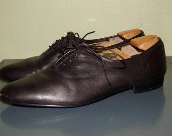 Men Size 12 Vintage Giorgio Brutini Black Oxford Shoes Leather Shoes