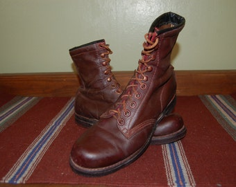 Men Size 9 Vintage Distress Combact Brown Boots