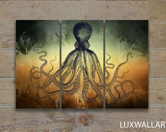 Abstract Octopus Wall Art Triptych