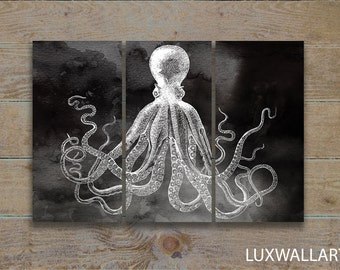 Octopus Wall Art Triptych