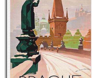 Prague Travel Poster On Canvas Czech Print Art xr700