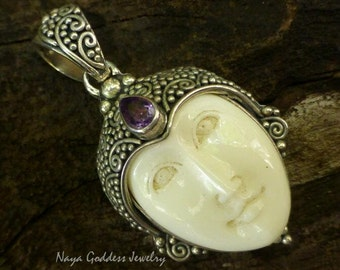 Sterling Silver and Amethyst Goddess Pendant NG-1244