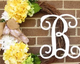 Wedding Wreath, Wedding Shower Wreath, Bridal Wreath, Bridal Shower Wreath,,Summer Wreath, Hydrangea Wreath, Initial Wreath, Door Wreath