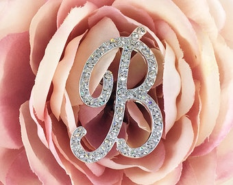 Swarovski Crystal Bouquet Letter, Wedding Bouquet Monogram Letter, Bridal Bouquet Initial, Bouquet Jewelry 290299563