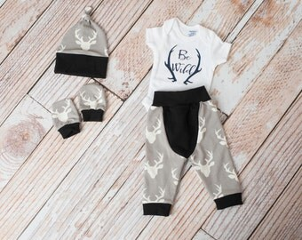 Baby Deer Antlers/Horns Bodysuit, Hat, Scratch Mittens Set with Grey and Black+ Be Wild Bodysuit Newborn Coming Home