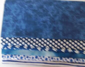 FATQUARTERS Blue Prints Stashbuilders Quilting Cotton
