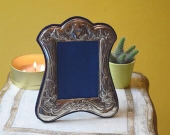 Pewter Photo Frame, Art Nouveau Style Pewter Picture Frame, Metallic Photograph Frame - No. 42-P