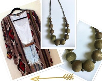 Chunky Beaded {Rustic Shadows } Necklace