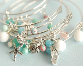 Summer Bangle - Beach Bracelet - Charm Bracelet - Gift for Her - Summer Bracelet - Adjustable Bangle - Stacking Bangle - Bangle Jewelry
