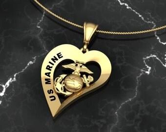 USMC US Marine Heart Pendant