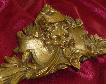 Antique French  bronze ormolu furniture/ clock decoration / pediment / mount, Lion head .