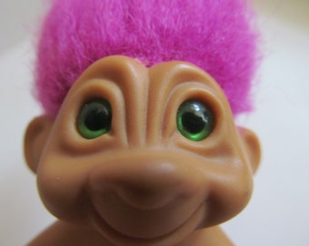 Vintage Troll Doll  3'' tall with green eyes and  pink hair