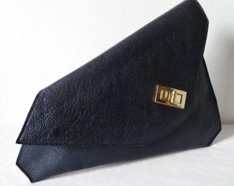 Sumaya Navy Blue Asymmetrical Clutch