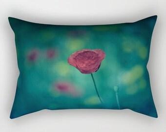 Green Pillow, Rectangular Pillow with Insert, Rectangular Throw Pillows, Red Poppy Flower Pillow, Decorative Pillows, Green Home Decor