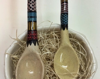 Set of 2 - Handmade Ceramic Sugar Spoons with Detail