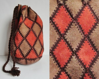 70s Vintage Suede And Leather Bag // Rusty Brown And Beige Tote Bag