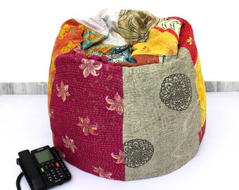 Handmade Quilted Cotton Floral Bohemian Bean Bag Chair Home Decor Round Decorative Hippie Embroidered Gypsy Ottoman