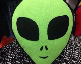 Alien Head Green Pillow , Alien Plush, Geeky felt stuffed plush pillow