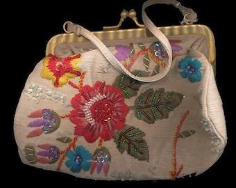 Vintage Marco Avane Glass Bead Floral Purse/Bag